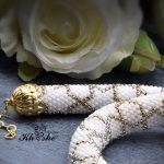 WhiteGold Spiral2 150x150 - گردنبند دستبافت منجوق بافی شده ( سفید - طلایی کد : 01WGSP)